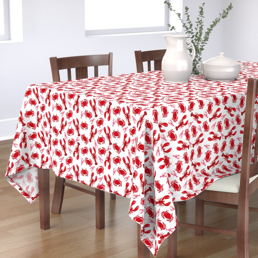Bantam Rectangular Tablecloth featuring crab and lobster // white crabs lobsters nautical fish ocean sea red pink summer fishing by andrea_lauren