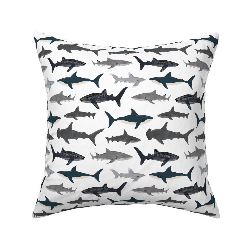 Catalan Throw Pillow featuring shark // sharks nautical boys white background kids ocean sea tiger shark hammerhead shark fabric by andrea_lauren
