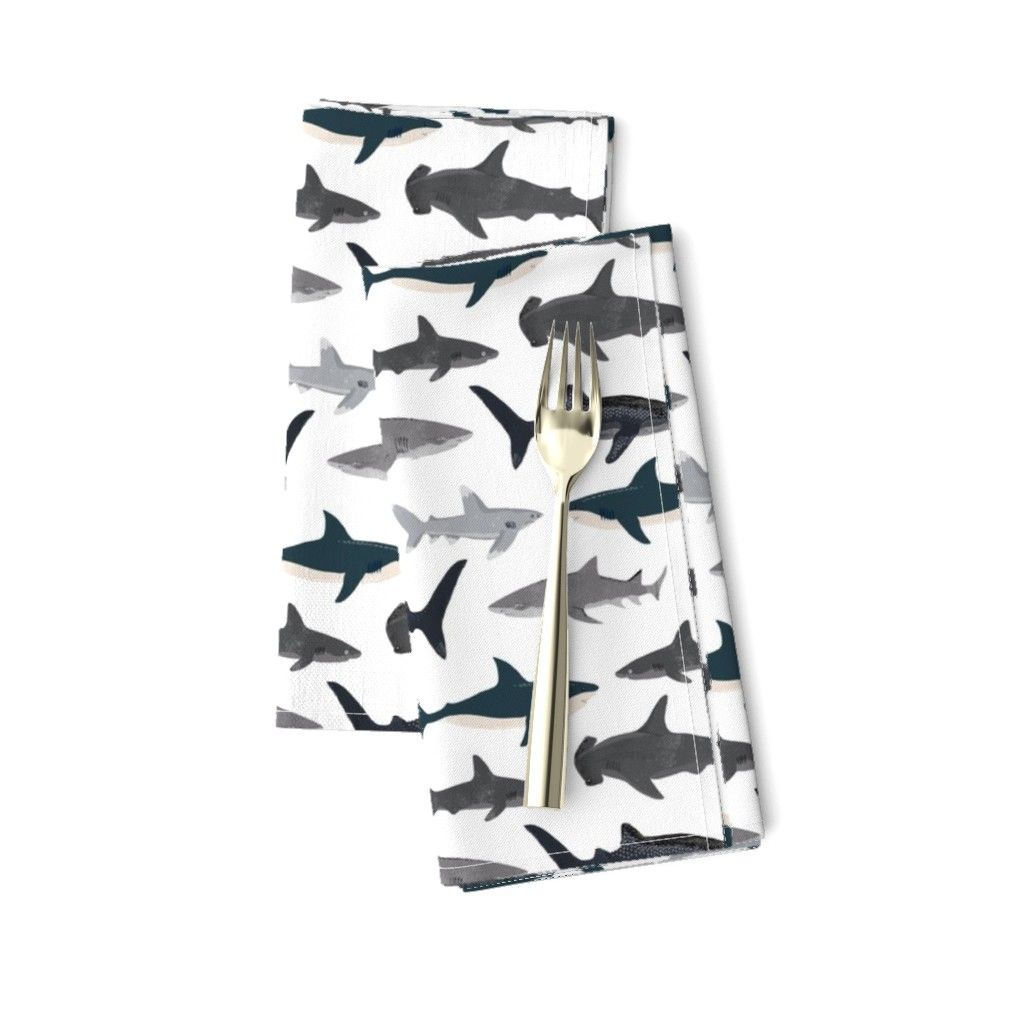 Amarela Dinner Napkins featuring shark // sharks nautical boys white background kids ocean sea tiger shark hammerhead shark fabric by andrea_lauren
