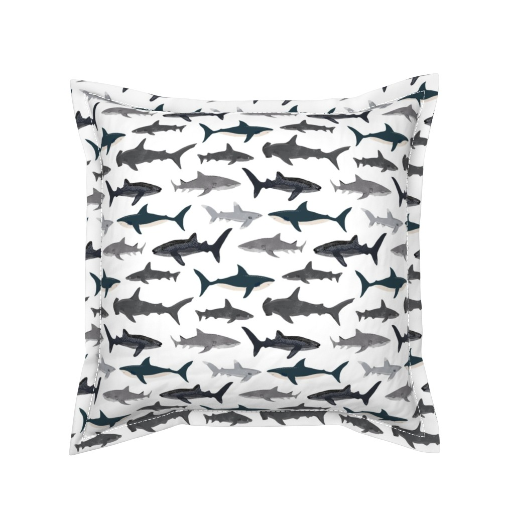 Serama Throw Pillow featuring shark // sharks nautical boys white background kids ocean sea tiger shark hammerhead shark fabric by andrea_lauren
