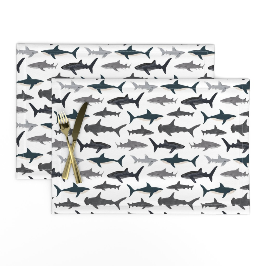 Lamona Cloth Placemats featuring shark // sharks nautical boys white background kids ocean sea tiger shark hammerhead shark fabric by andrea_lauren