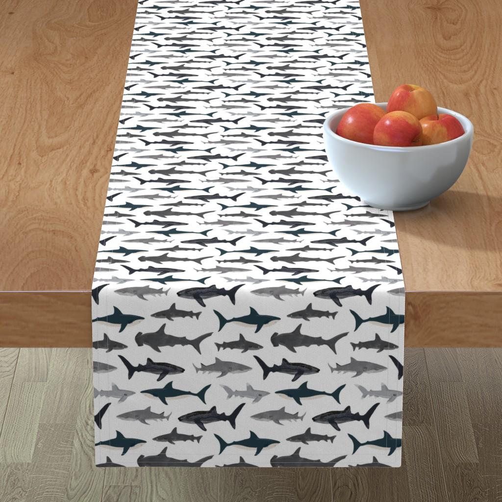 Minorca Table Runner featuring shark // sharks nautical boys white background kids ocean sea tiger shark hammerhead shark fabric by andrea_lauren