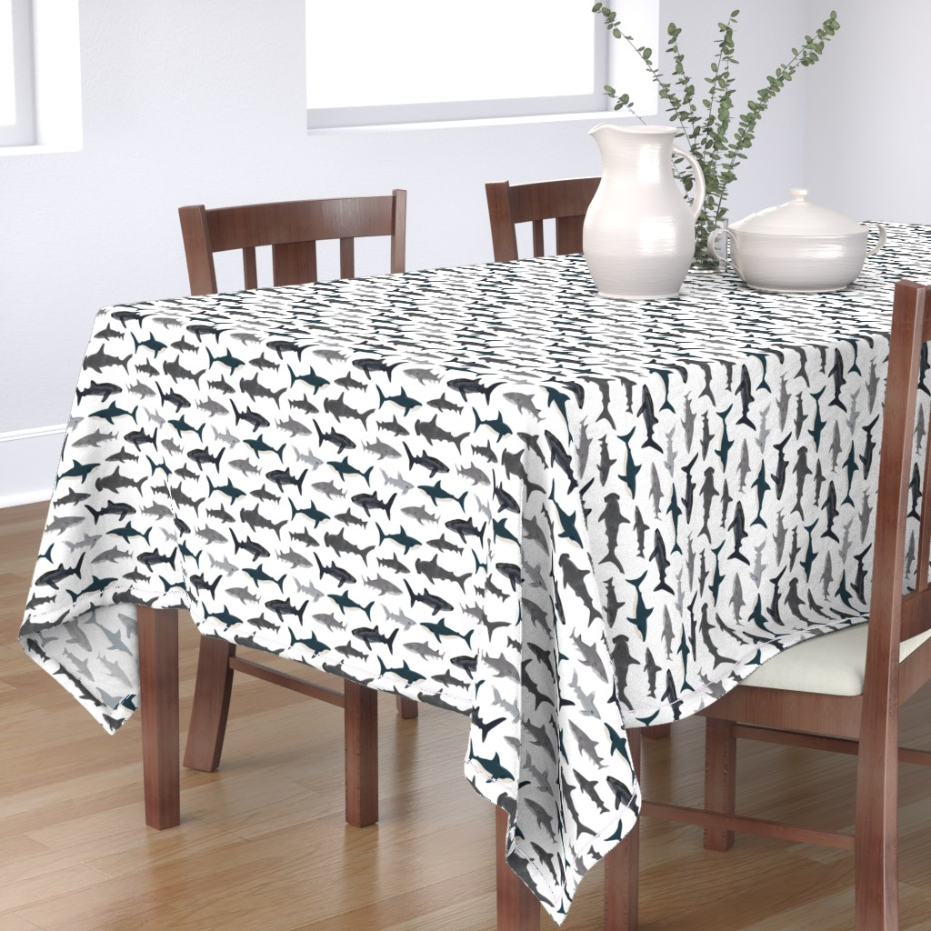Bantam Rectangular Tablecloth featuring shark // sharks nautical boys white background kids ocean sea tiger shark hammerhead shark fabric by andrea_lauren