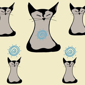 Meditating Siamese Cats