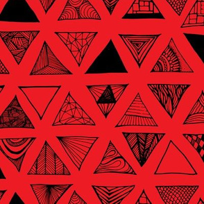 Triangle Doodles Red