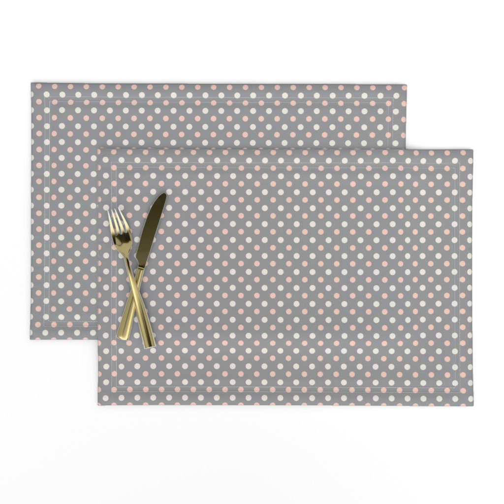 Lamona Cloth Placemats featuring Peach Polka dot by magentarosedesigns