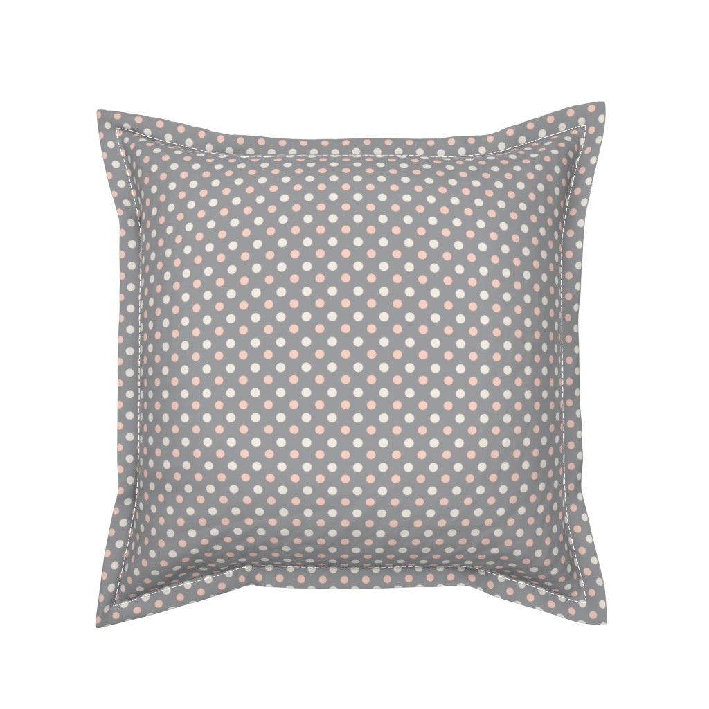 Serama Throw Pillow featuring Peach Polka dot by magentarosedesigns