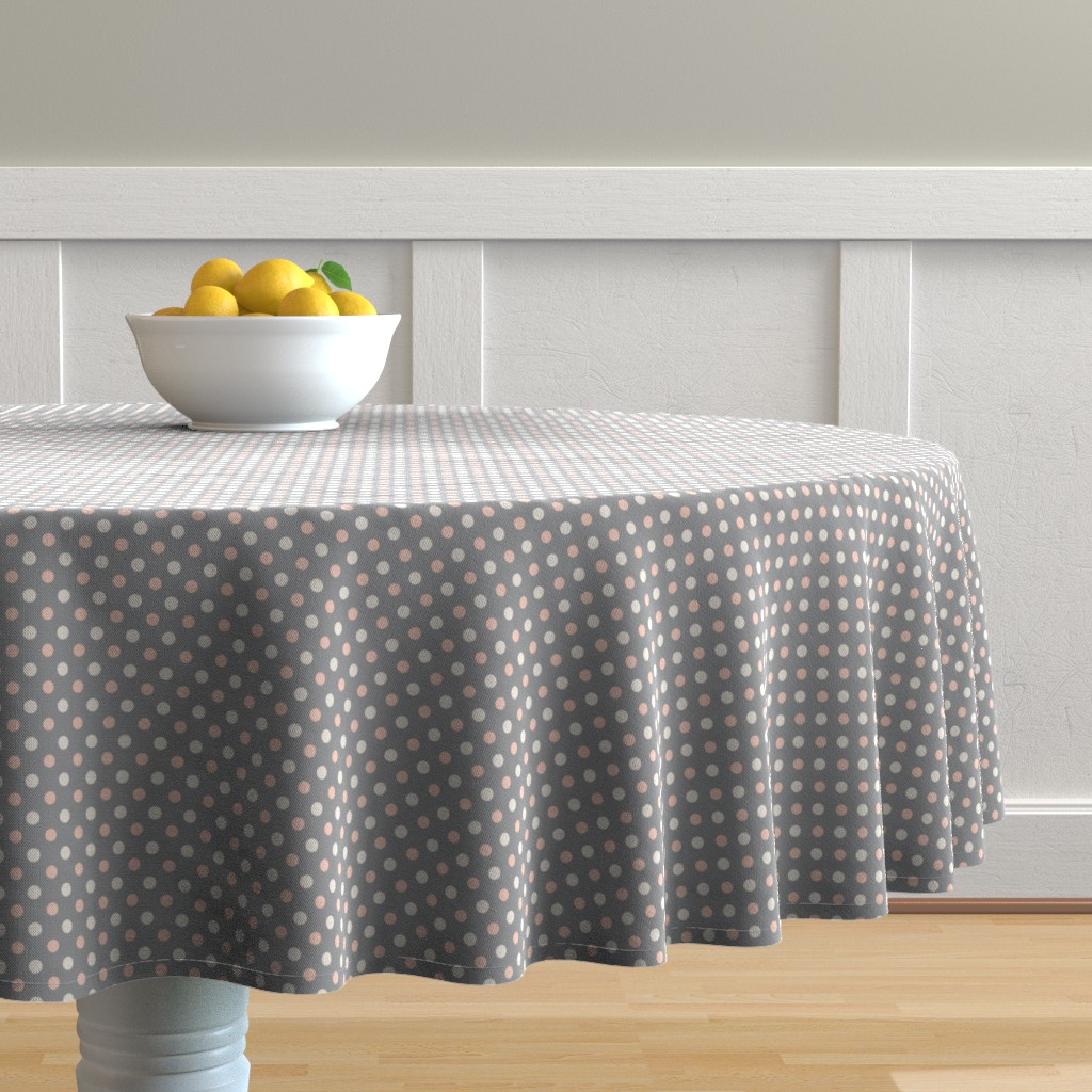 Malay Round Tablecloth featuring Peach Polka dot by magentarosedesigns