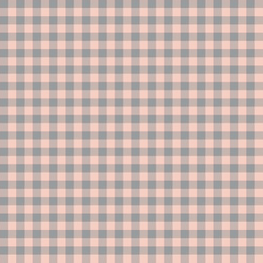 peachy pink and grey gingham