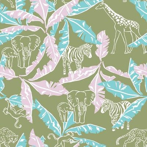 Soft Olive Safari / Jungle & Banana Leaves