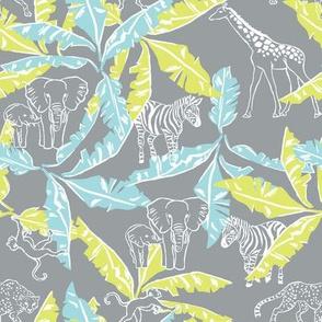 Cool Grey Safari / Jungle & Banana Leaves