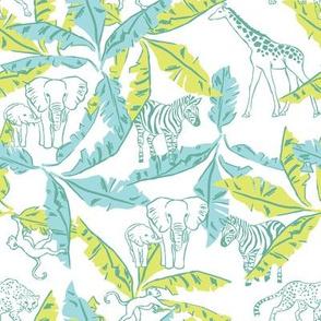 White Safari / Jungle & Banana Leaves