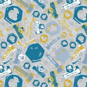 16-14C Mixed Nuts and Bolts || DIY Guy Gray Grey Gold Mustard Yellow Teal Blue Men Boy Construction _Miss Chiff Designs