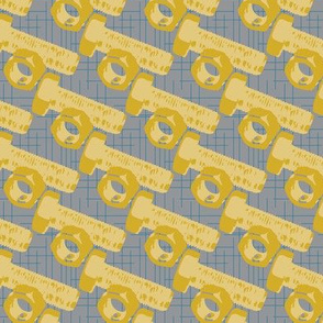 16-14B Construction Nuts & Bolts || Gold mustard yellow blue gray Retro Boy Male Masculine _Miss Chiff Designs