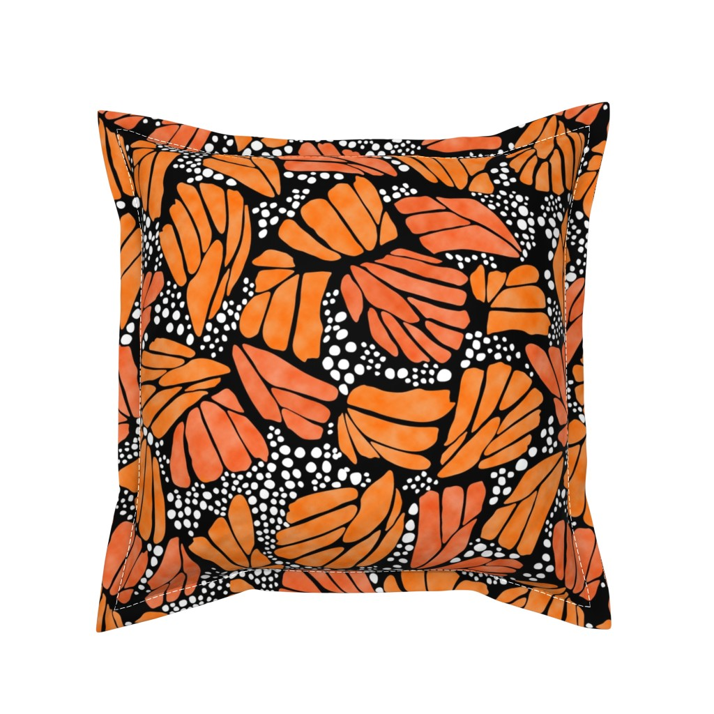 Serama Throw Pillow featuring Orange Monarch Butterfly by thestylesafari