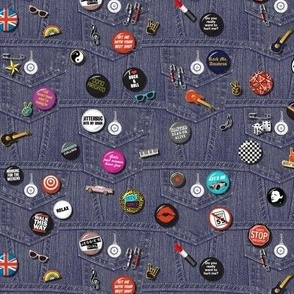'80s Rock & Roll Flair* (Mini) || buttons pins pinbacks music retro denim rock and roll band typography words fashion friendship punk emo