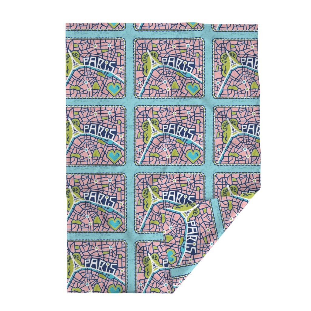 Lakenvelder Throw Blanket featuring J'adore Paris Tea Towel - Map Eiffel Tower by heatherdutton