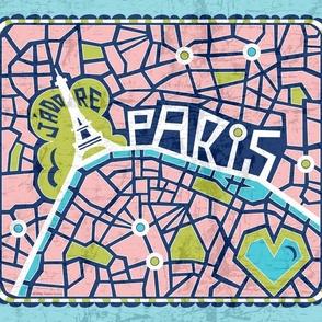 J'adore Paris Tea Towel - Map Eiffel Tower