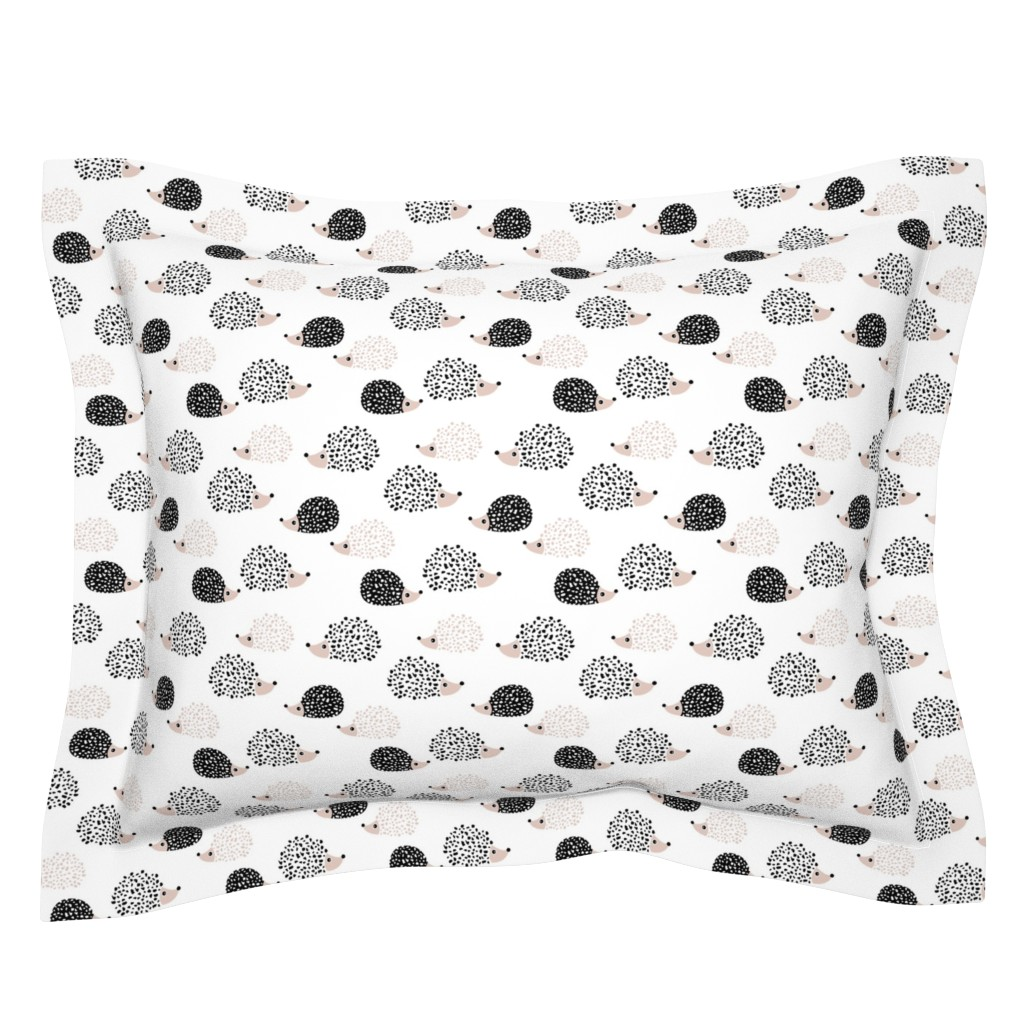 Sebright Pillow Sham featuring Scandinavian sweet hedgehog illustration for kids gender neutral black and white by littlesmilemakers