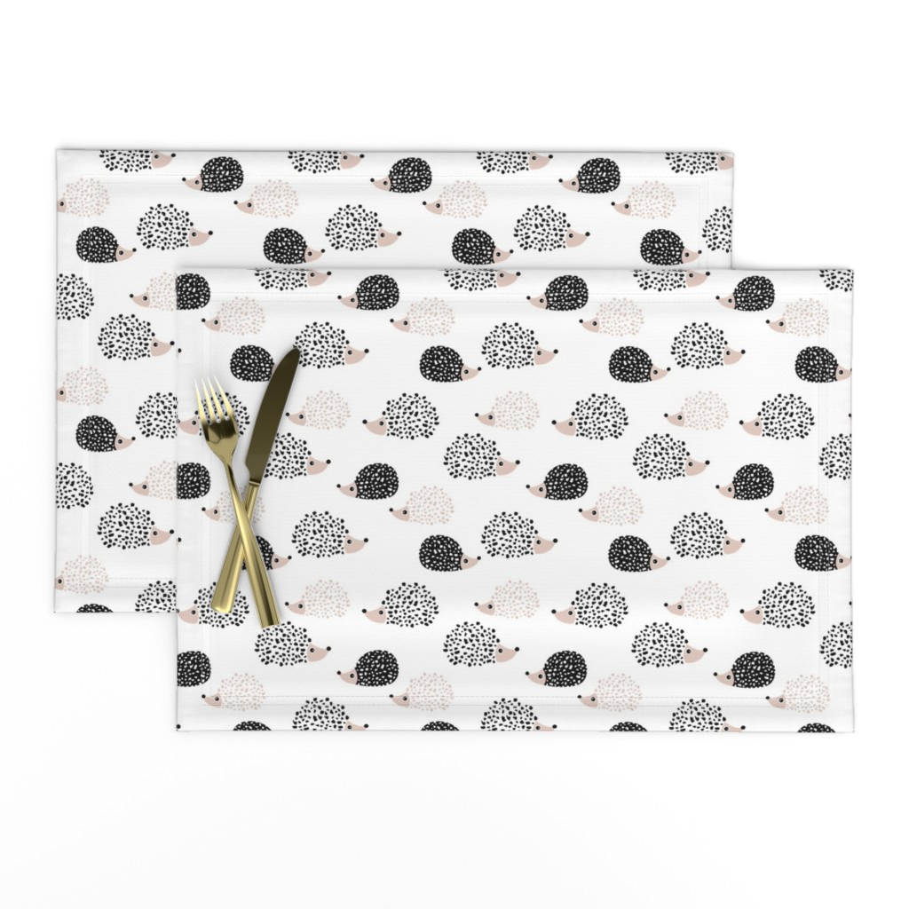Lamona Cloth Placemats featuring Scandinavian sweet hedgehog illustration for kids gender neutral black and white by littlesmilemakers