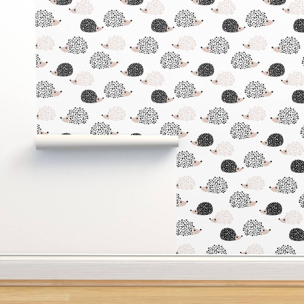Isobar Durable Wallpaper featuring Scandinavian sweet hedgehog illustration for kids gender neutral black and white by littlesmilemakers
