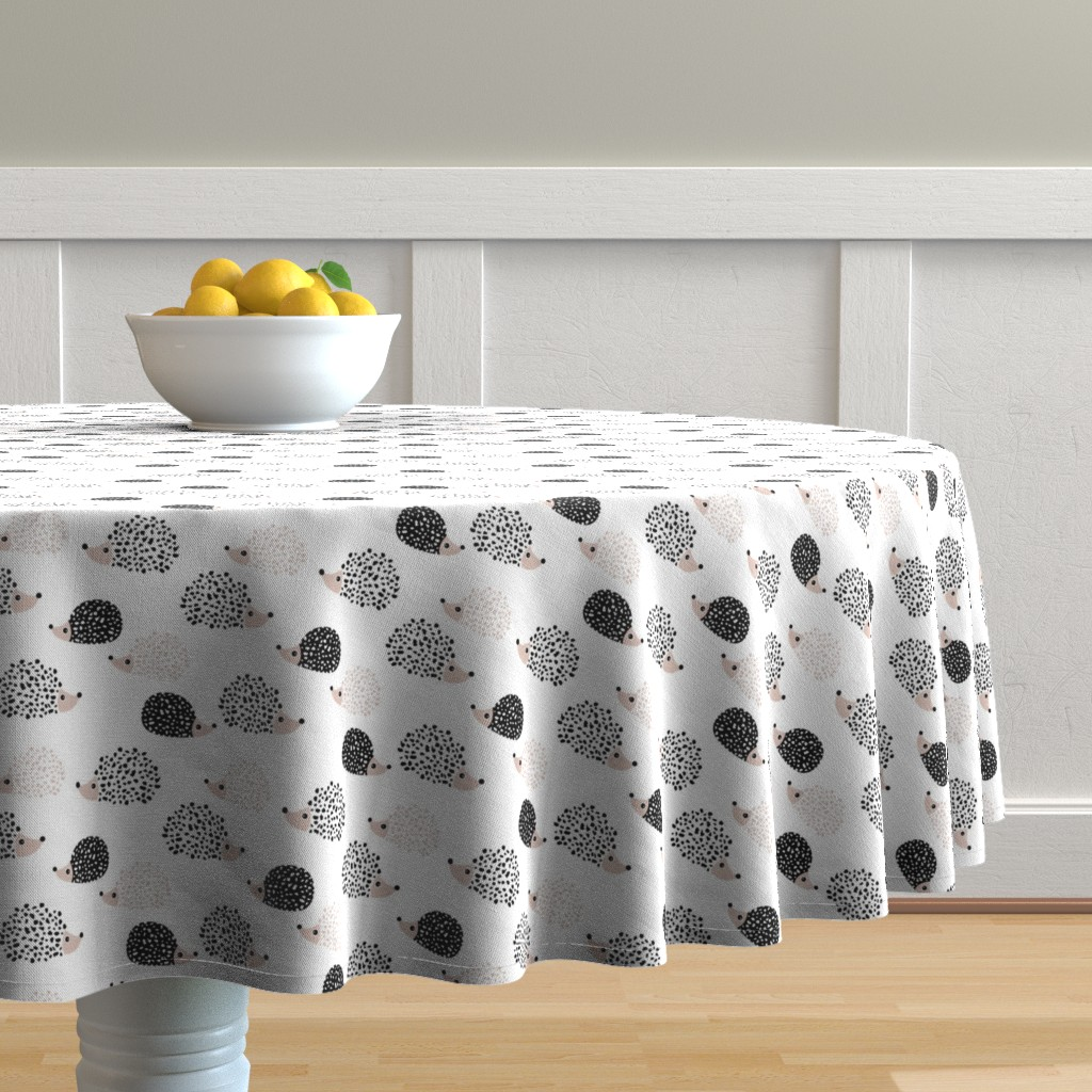 Malay Round Tablecloth featuring Scandinavian sweet hedgehog illustration for kids gender neutral black and white by littlesmilemakers