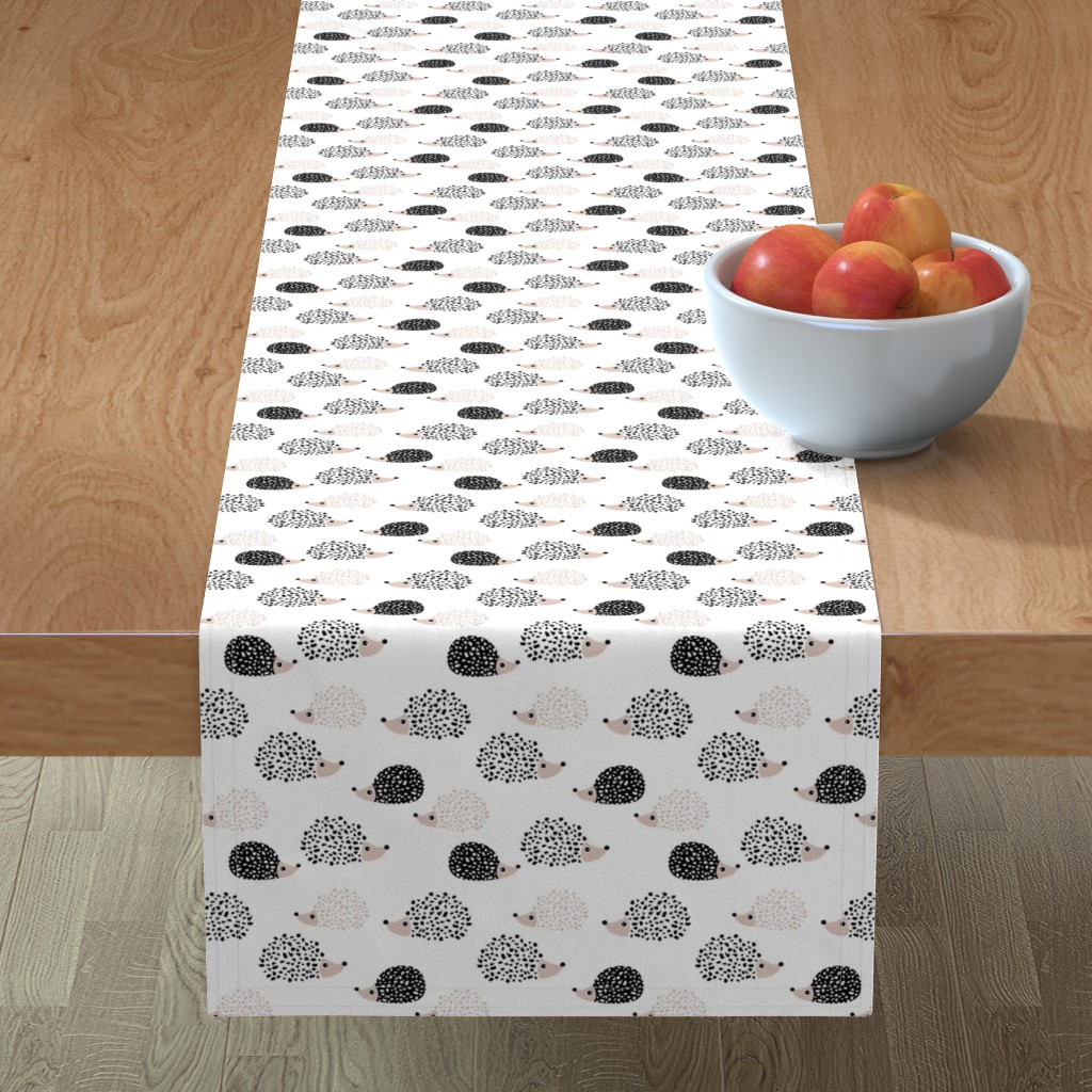 Minorca Table Runner featuring Scandinavian sweet hedgehog illustration for kids gender neutral black and white by littlesmilemakers