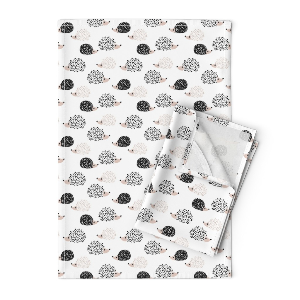 Orpington Tea Towels featuring Scandinavian sweet hedgehog illustration for kids gender neutral black and white by littlesmilemakers