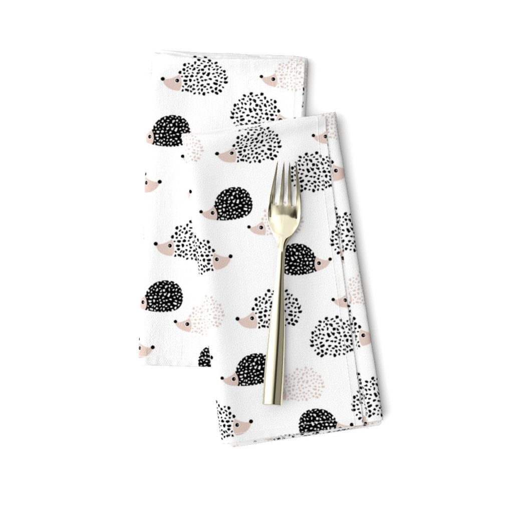 Amarela Dinner Napkins featuring Scandinavian sweet hedgehog illustration for kids gender neutral black and white by littlesmilemakers