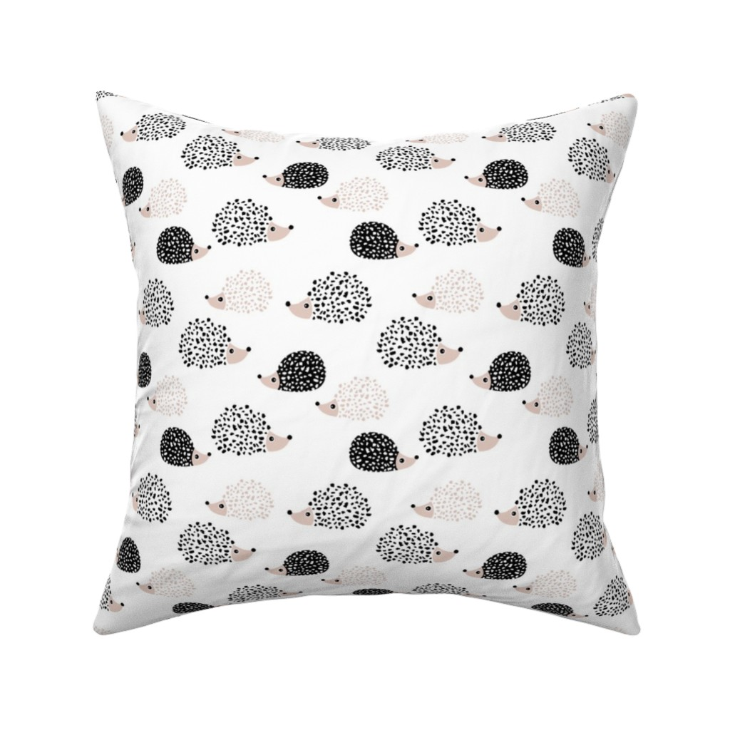 Catalan Throw Pillow featuring Scandinavian sweet hedgehog illustration for kids gender neutral black and white by littlesmilemakers