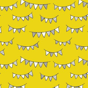 Happy birthday party garland kids geometric scandinavian gender neutral black and white yellow