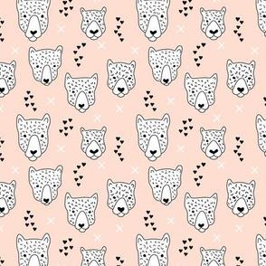 Cool leopard safari animals sweet baby panther love geometric kids illustration peach XS