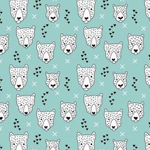 Cool leopard safari animals sweet baby panther love geometric kids illustration blue XS
