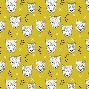 Cool leopard safari animals sweet baby panther love geometric kids illustration mustard yellow