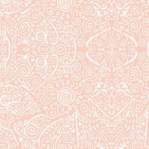 bridal mendhi - peachy-pink and white