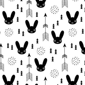 Sweet black and white bunny indian summer and geometric details scandinavian style spring design for kids