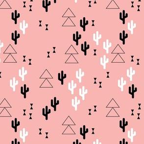 Geometric cactus scandinavian trend triangle design soft pink for girls