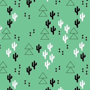 Geometric cactus scandinavian trend triangle design gender neutral green