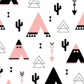 Teepee tent arrows and cactus garden cool kids geometric scandinavian style print pink girls