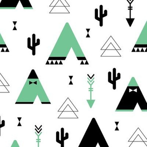 Teepee tent arrows and cactus garden cool kids geometric scandinavian style print gender neutral mint