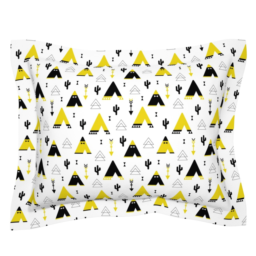 Sebright Pillow Sham featuring Teepee tent arrows and cactus garden cool kids geometric scandinavian style print gender neutral yellow by littlesmilemakers