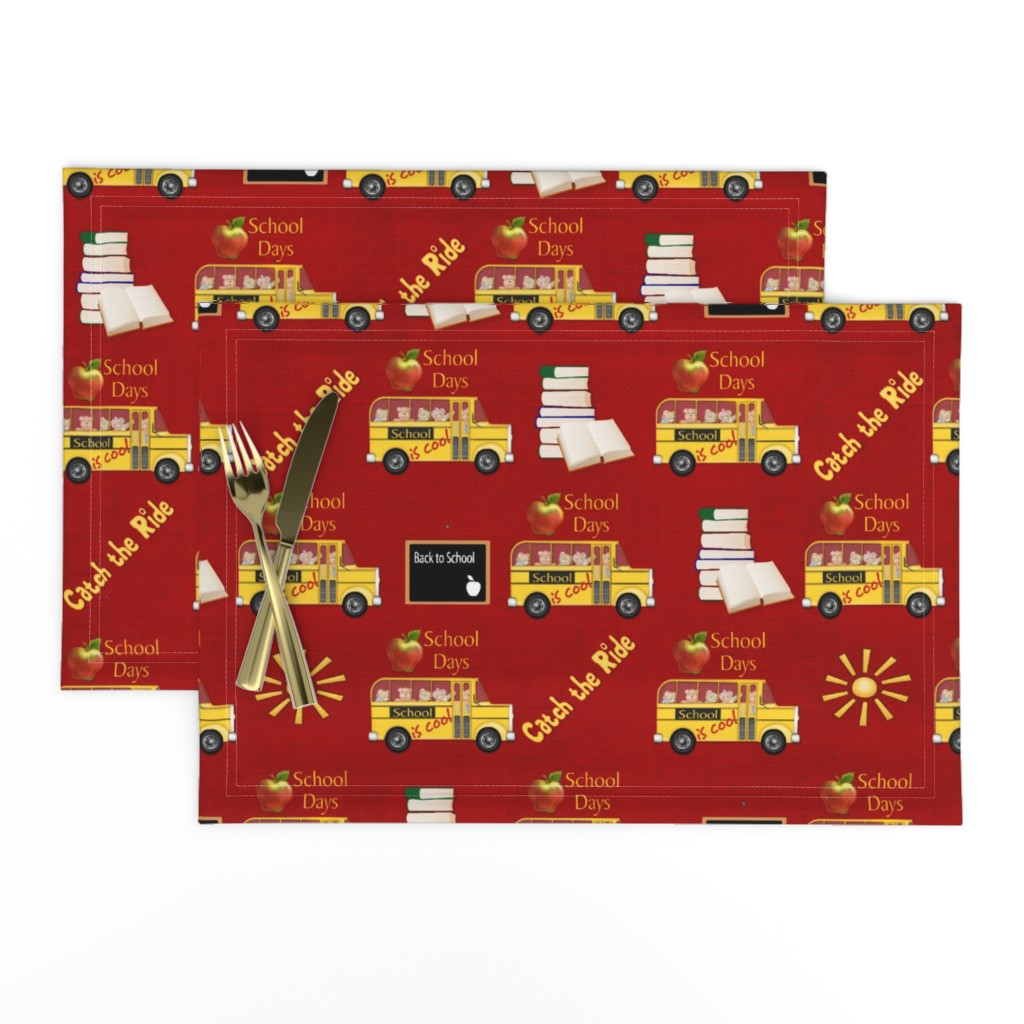 Lamona Cloth Placemats featuring School is Cool - Red by spicetree
