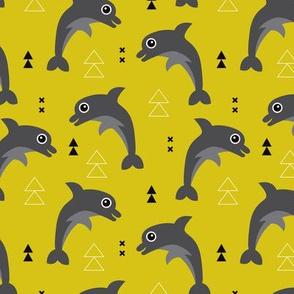 Cute geometric dolphins cute kids fish illustration summer print yellow