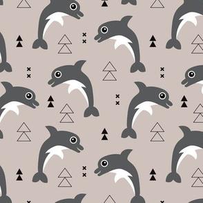 Cute geometric dolphins cute kids fish illustration summer print beige