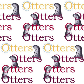 Smooth-coated otters (maroon + gold text) by Su_G_©SuSchaefer