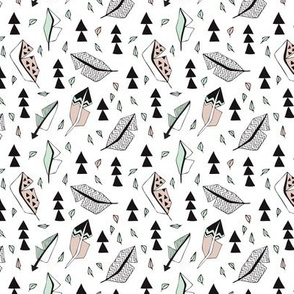 Cool geometric feathers and arrows abstract triangle hand drawn illustration scandinavian style in beige mint black and whiteXS