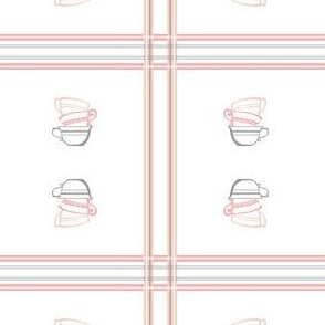 Pink Plaid Stacked Tea Cups