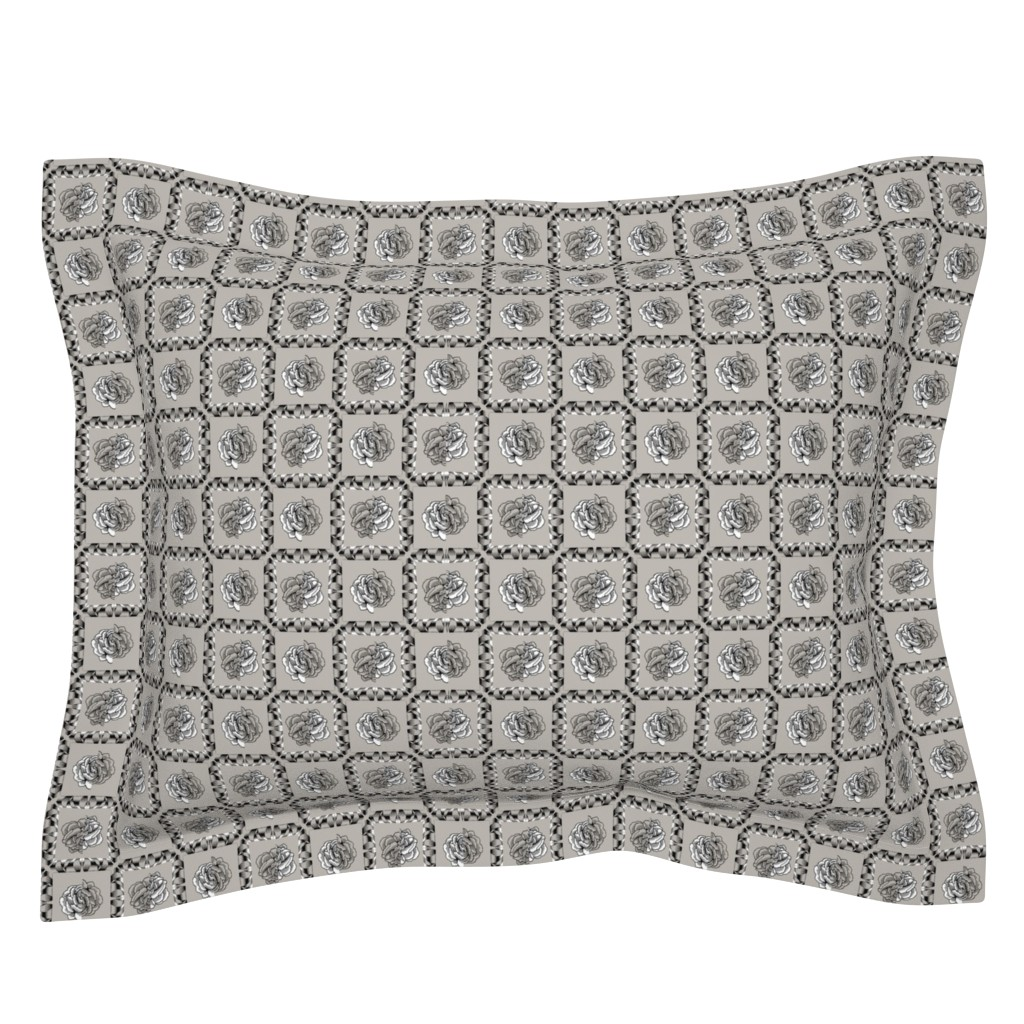 Sebright Pillow Sham featuring rose & spindle - cement - small by cinneworthington
