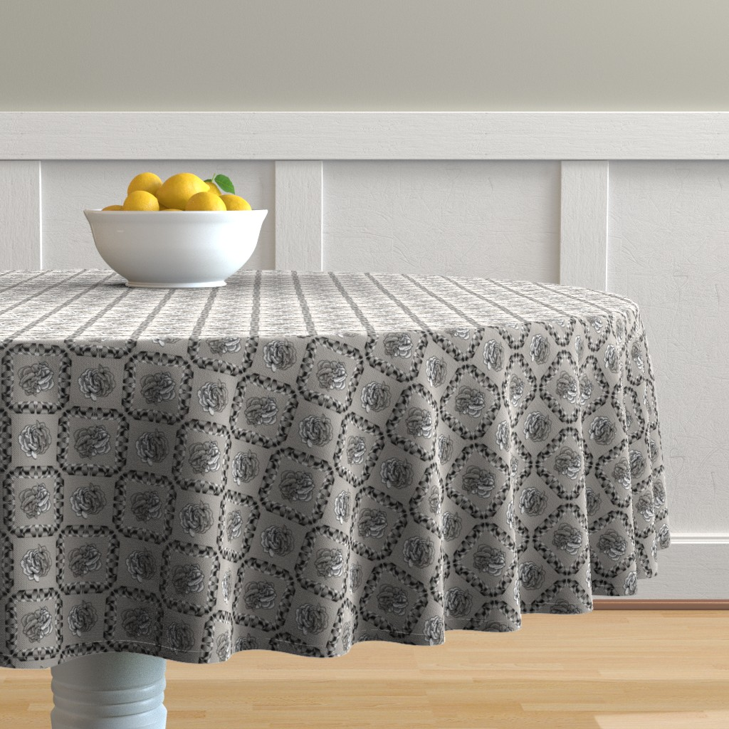 Malay Round Tablecloth featuring rose & spindle - cement - small by cinneworthington