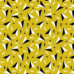 Colorful geometric paper planes indian arrows and triangle abstract memphis style black and white gender neutral yellow